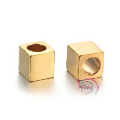 Ατσάλινες, χάντρες, χρυσές, κύβος, 3x3x3mm, 10τμχ. Χάντρες