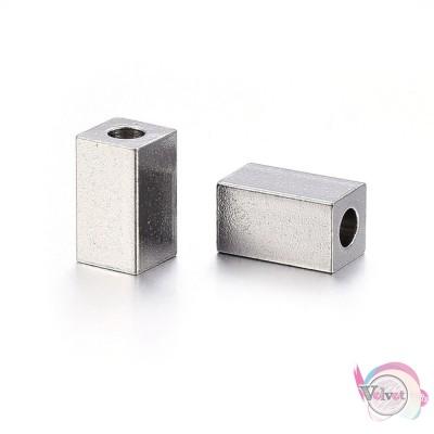 Ατσάλινες, χάντρες, κυβοειδής, ασημί, 7x4mm, 10τμχ. Χάντρες