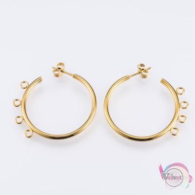 Ατσάλινος κρίκος για σκουλαρίκι, χρυσό, 32mm, 1ζεύγος. Εξαρτήματα