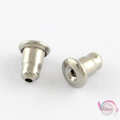 Ατσάλινες ασφάλειες για σκουλαρίκια, ασημί, 5.5x4.5mm, 50τμχ Κουμπώματα