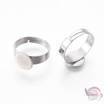 Ατσάλινη, βάση δαχτυλιδιού, ασημί, 10mm, 5τμχ Εξαρτήματα