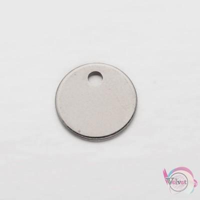 Ατσάλινο στοιχείο κύκλος , ασημί, κρεμαστό, φλουρί, 8mm, 30τμχ. Διάφορα