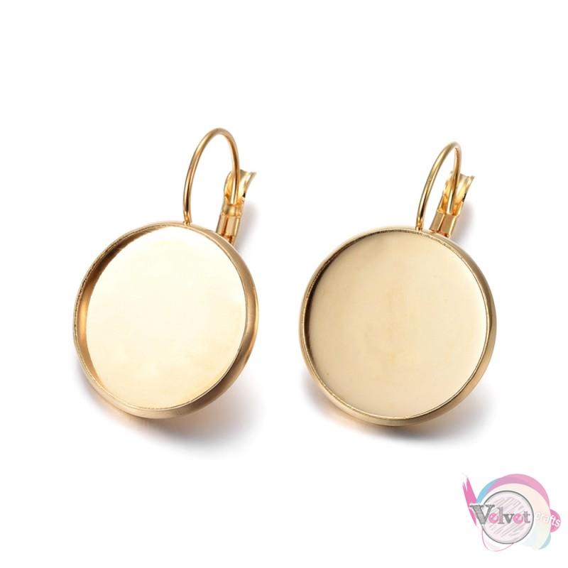 Ατσάλινα σκουλαρίκια κρεμαστά με καστόνι 18mm, χρυσό, 1ζεύγος. Εξαρτήματα