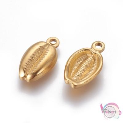 Κοχύλι, ατσάλινο στοιχείο, κρεμαστό , χρυσό, 19x10.5mm, 2τμχ. Ατσάλινα μοτίφ-στοιχεία