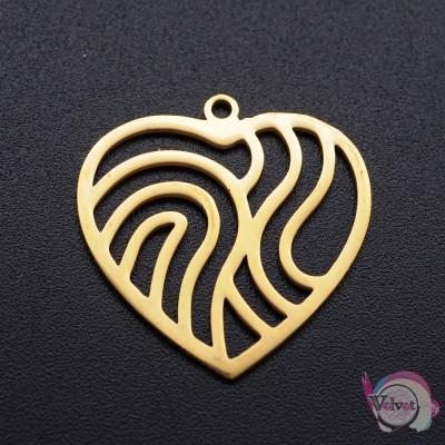 Ατσάλινο στοιχείο, καρδιά, χρυσή, 22x22mm, 1τμχ. Καρδιές