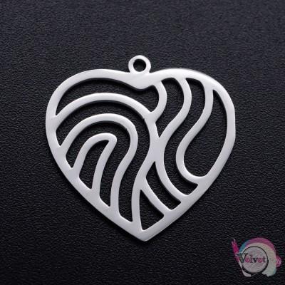 Ατσάλινο στοιχείο, καρδιά, ασημί, 22x22mm, 2τμχ. Καρδιές