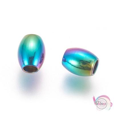 Ατσάλινες χάντρες οβάλ, πολύχρωμες, 6x5mm, 10τμχ. Χάντρες