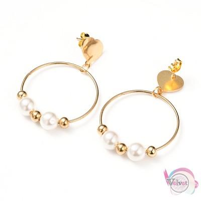 Ατσάλινα σκουλαρίκιακρίκοι με πέρλες, χρυσά,  49mm,1ζεύγος Ατσάλινα σκουλαρίκια