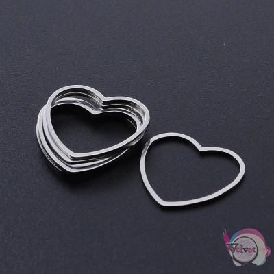 Ατσάλινο στοιχείο καρδιά, ασημί, 20mm, 4τμχ. Διάφορα