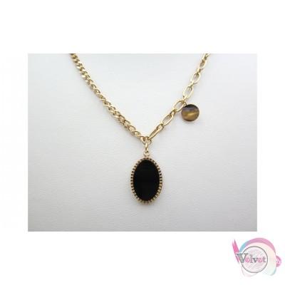 Ατσάλινη αλυσίδα, ροζ χρυσό, με μαύρο στοιχείο, οβάλ, 38cm, 1τμχ Ατσάλινα κολιέ