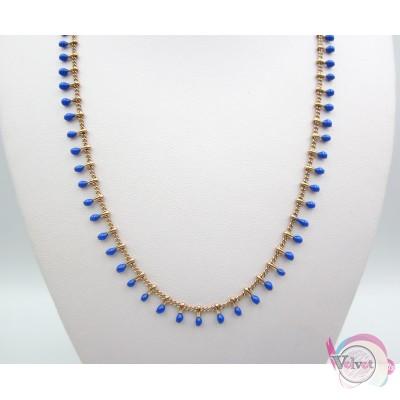 Ατσάλινο κολιέ, με μπλε σμάλτο, ροζ  χρυσό, 40cm, 1τμχ. Ατσάλινα κολιέ