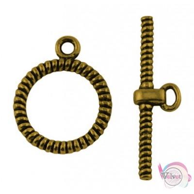 Κούμπωμα διακοσμητικό, χρυσό αντικέ,  27x16mm,   10σέτ Κουμπώματα διακοσμητικά