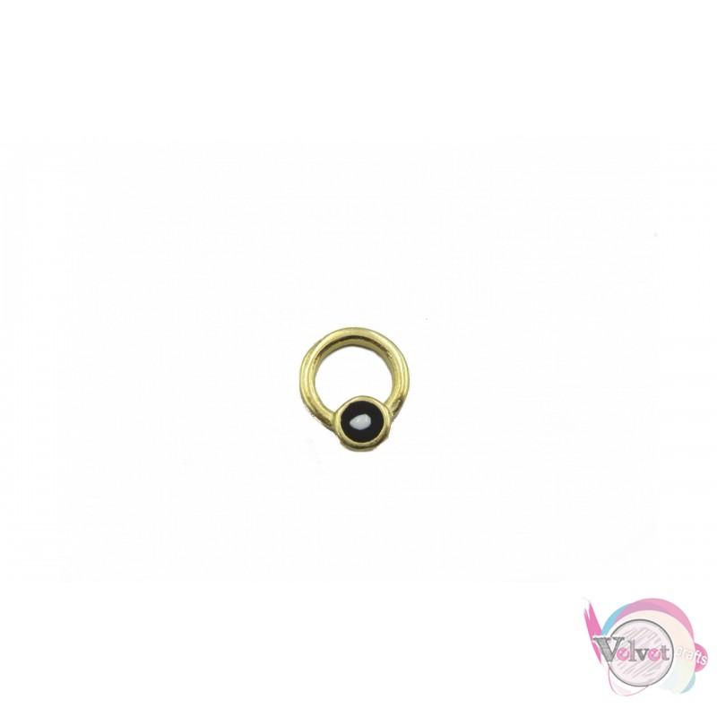 Κύκλος επιχρυσωμένος ματάκι,μαύρο, 11mm, 10τμχ Διάφορα