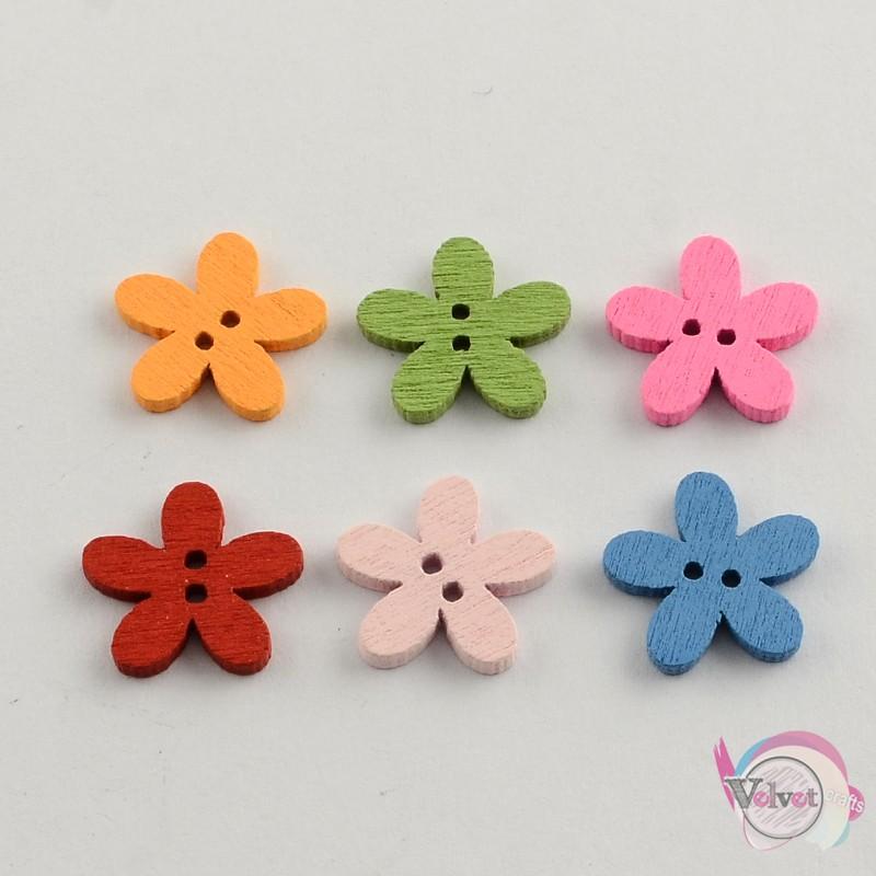 Κουμπιά ξύλινα, λουλούδια, mix, 15mm,  50τμχ. Κουμπιά