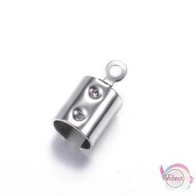 Ακροδέκτης ατσάλινος, ασημί,  12x6.5mm,   20τμχ. Εξαρτήματα