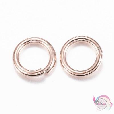 Ατσάλινο κρικάκι, ροζ-χρυσό, 6x1mm,   10τμχ. Εξαρτήματα