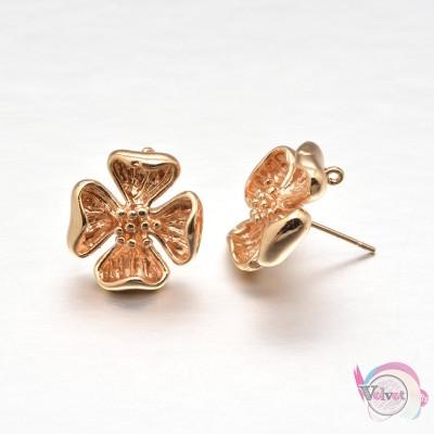 Καρφάκι για σκουλαρίκια, λουλούδι, χρυσό, 16x17mm,   4τμχ. Σκουλαρίκια