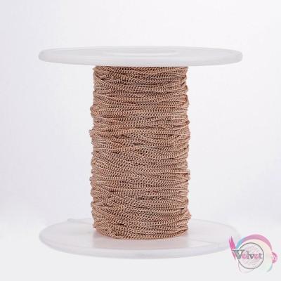 Ατσάλινη αλυσίδα, ρόζ χρυσό,  1.2x1.1mm,     1μέτρο Χρυσές