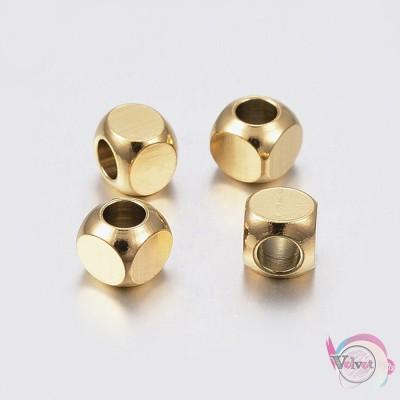 Ατσάλινες χάντρες, κύβος, χρυσό, 6mm, 5τμχ. Χάντρες