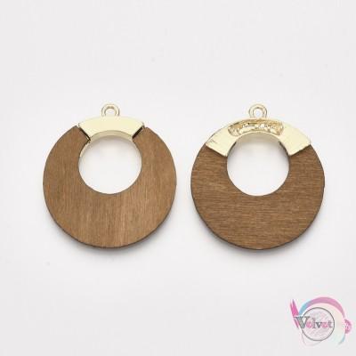 Μεταλλικό μοτίφ, κύκλος, χρυσό με ξύλο, 43x38mm, 3τμχ. Διάφορα