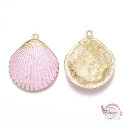 Κοχύλι, κρεμαστό, χρυσό με ροζ σμάλτο, 35x29mm, 3τμχ Θάλασσα