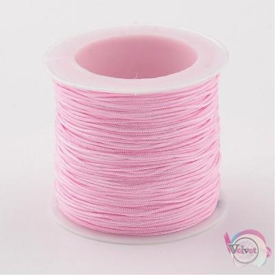 Συνθετικό, ροζ, 1mm,  35μέτρα Συνθετικά