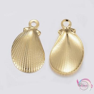 Κοχύλι, ατσάλινο, κρεμαστό , χρυσό, 12x7mm, 10τμχ. Ατσάλινα μοτίφ-στοιχεία