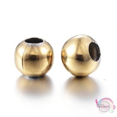 Ατσάλινες χάντρες, χρυσές,  4mm,      40τμχ. Χάντρες
