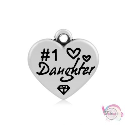 """Ατσάλινο στοιχείο καρδιά """"daughter"""" , ασημί, 16mm, 4τμχ. Ατσάλινα μοτίφ-στοιχεία"""