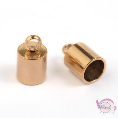 Ακροδέκτης ατσάλινος για κόλλημα, χρυσό, 10x6mm,   6τμχ. Εξαρτήματα
