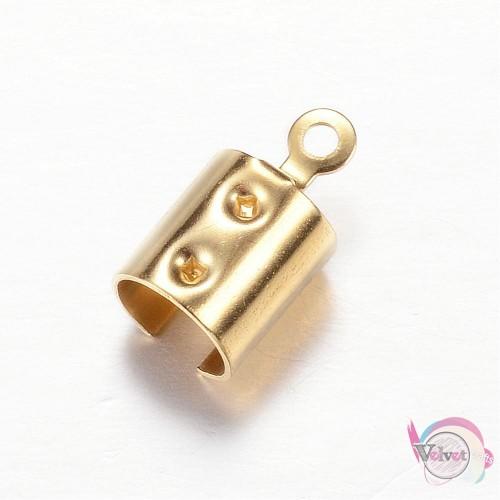 Ακροδέκτης ατσάλινος, χρυσός,  12x6.5mm,   10τμχ. Εξαρτήματα