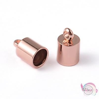 Ακροδέκτης ατσάλινος για κόλλημα,  ροζ χρυσό, 10x6mm,   4τμχ. Εξαρτήματα