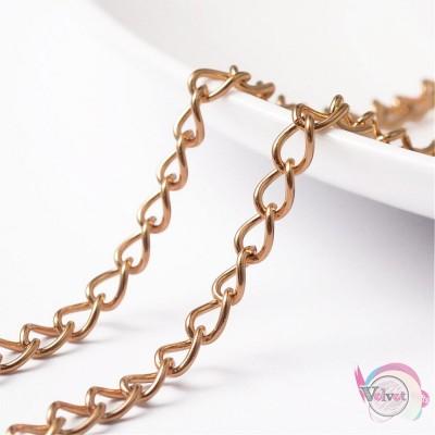 Ατσάλινη αλυσίδα, για προέκταση, χρυσή, 5.5x4x0.8mm,  1μετρο Διάφορες αλυσίδες