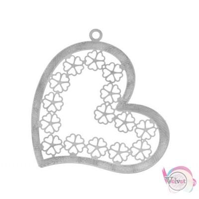 Μεταλλικό στοιχείο καρδιά, κρεμαστό, ασημί, 50mm,    5τμχ. Διάφορα