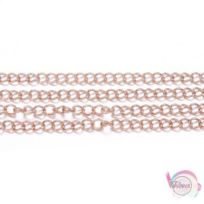 Ατσάλινη, αλυσίδα, κολλημένη, ροζ χρυσό, 4x3mm, 1μέτρo Χρυσές