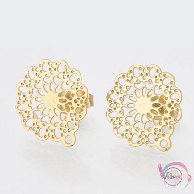 Ατσάλινο, σκουλαρίκια για κρέμασμα, λουλούδι, χρυσό, 16x14mm, 4τμχ. Εξαρτήματα