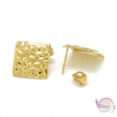 Ατσάλινο, στοιχείο για σκουλαρίκια, τετράγωνο, χρυσό, 19mm, 4τμχ. Εξαρτήματα