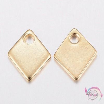 Ρόμβος, ατσάλινος, χρυσό, κρεμαστό, 9x7mm, 10τμχ. Ατσάλινα μοτίφ-στοιχεία