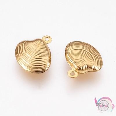 Κοχύλι, ατσάλινο στοιχείο, κρεμαστό , χρυσό, 14x13mm, 6τμχ. Ατσάλινα μοτίφ-στοιχεία