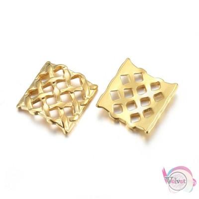 Ατσάλινο, στοιχείο, artistic, χρυσό, 14.5x14mm, 1τμχ. Ατσάλινα μοτίφ-στοιχεία