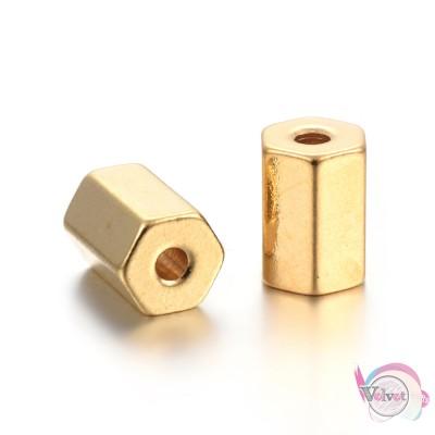 Ατσάλινες, χάντρες, χρυσές, 8x5.5mm,  4τμχ. Χάντρες