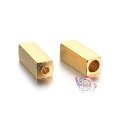 Ατσάλινες, χάντρες, τετράγωνες, χρυσές, 8x3mm,  6τμχ. Χάντρες