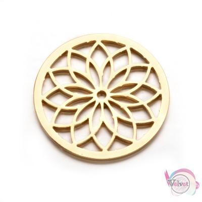 Ατσάλινο στοιχείο, λουλούδι, χρυσό, 35mm, 1τμχ. Ατσάλινα μοτίφ-στοιχεία