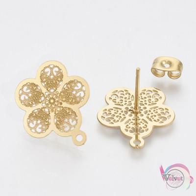 Ατσάλινο,εξάρτημα για σκουλαρίκια, λουλούδι, χρυσό, 18x15.5mm, 4τμχ. Εξαρτήματα