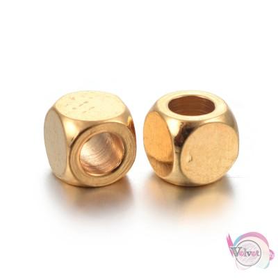 Ατσάλινες χάντρες, κύβος, χρυσό,  4x4mm, 10τμχ. Χάντρες