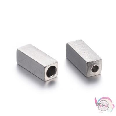 Ατσάλινες, χάντρες, τετράγωνες, ασημί, 8x3mm, 10τμχ. Χάντρες