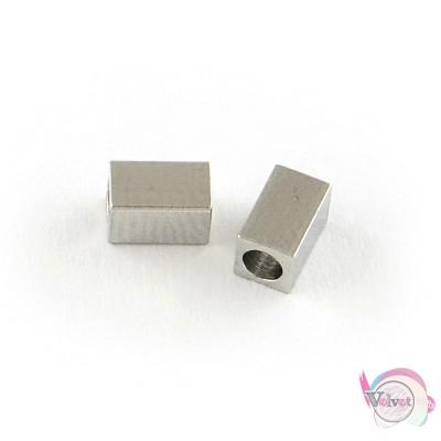 Ατσάλινες χάντρες, ασημί,  5x3mm,  10τμχ. Χάντρες