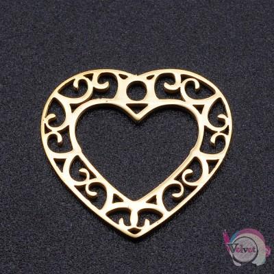 Ατσάλινο στοιχείο καρδιά, χρυσό, 19mm, 1τμχ. Διάφορα