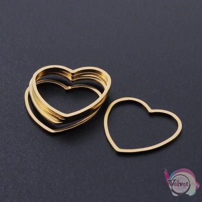 Ατσάλινο στοιχείο καρδιά χρυσό, 20mm, 2τμχ. Διάφορα