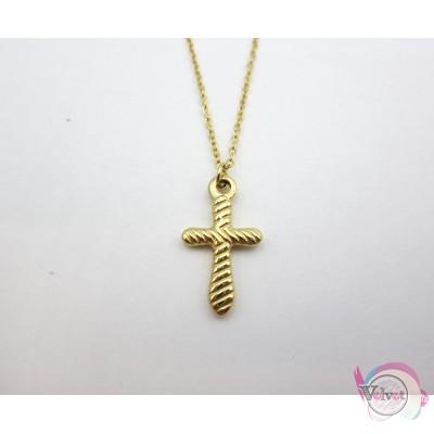 Ατσάλινο κολιέ, με σταυρό, χρυσό, 42cm, 1τμχ. Ατσάλινα κολιέ